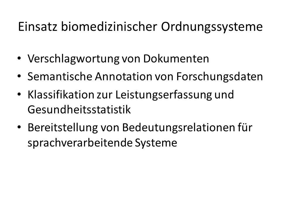 Verschlagwortung von Dokumenten Semantische Annotation von Forschungsdaten Klassifikation zur Leistungserfassung und Gesundheitsstatistik Bereitstellu