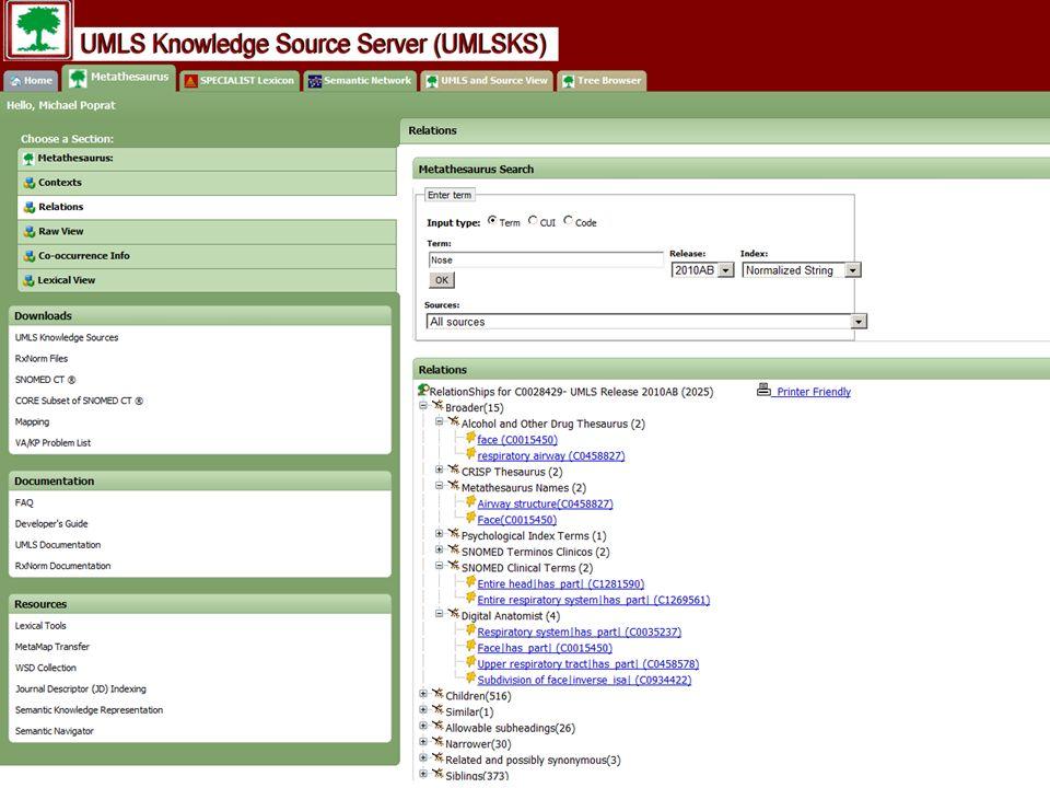 Unified Medical Language System (UMLS) Metathesaurus aus zahlreichen (> 100) unterschiedlichen medizinischen Ordnungssysteme Gleichbedeutende Repräsentationseinheiten (Klassen, Konzepte, Terme) werden auf einen Schlüssel (CUI = concept unique identifier) gemappt CUI werden nach semantischen Typen klassifiziert