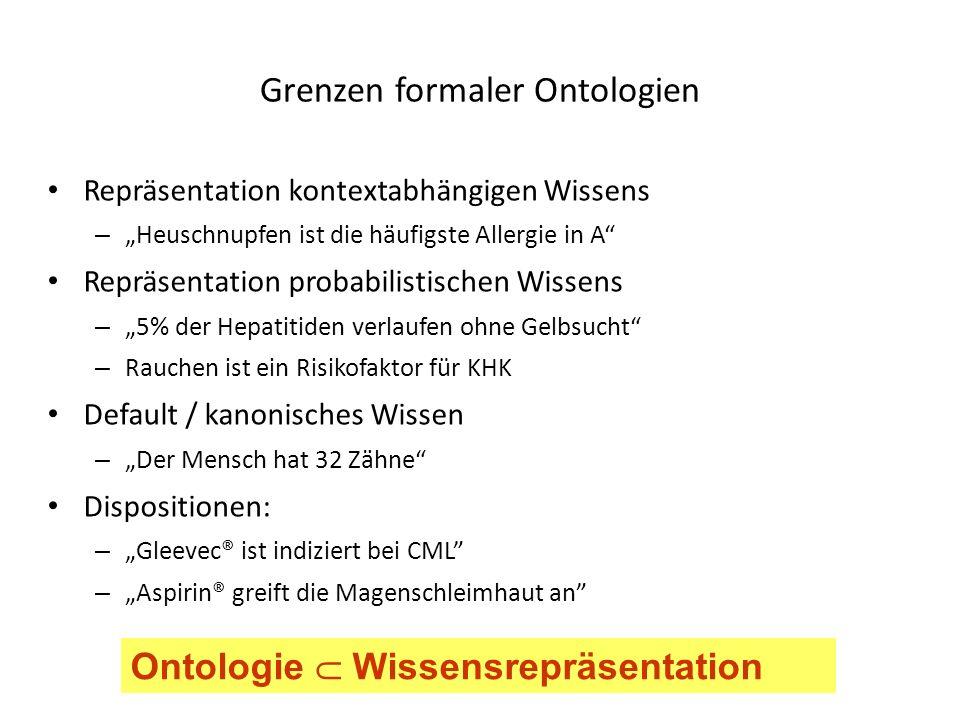 Repräsentation kontextabhängigen Wissens – Heuschnupfen ist die häufigste Allergie in A Repräsentation probabilistischen Wissens – 5% der Hepatitiden