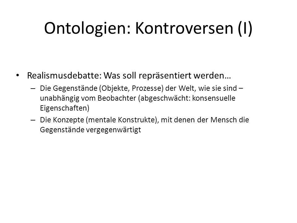 Ontologien: Kontroversen (I) Realismusdebatte: Was soll repräsentiert werden… – Die Gegenstände (Objekte, Prozesse) der Welt, wie sie sind – unabhängi