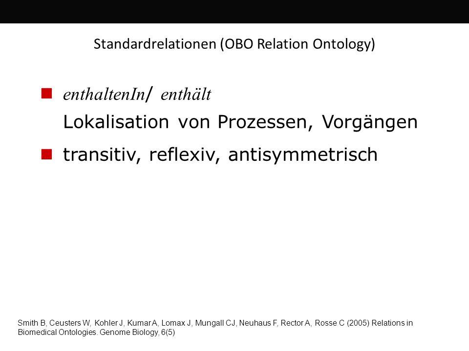 enthaltenIn / enthält Lokalisation von Prozessen, Vorgängen transitiv, reflexiv, antisymmetrisch Standardrelationen (OBO Relation Ontology) Smith B, C