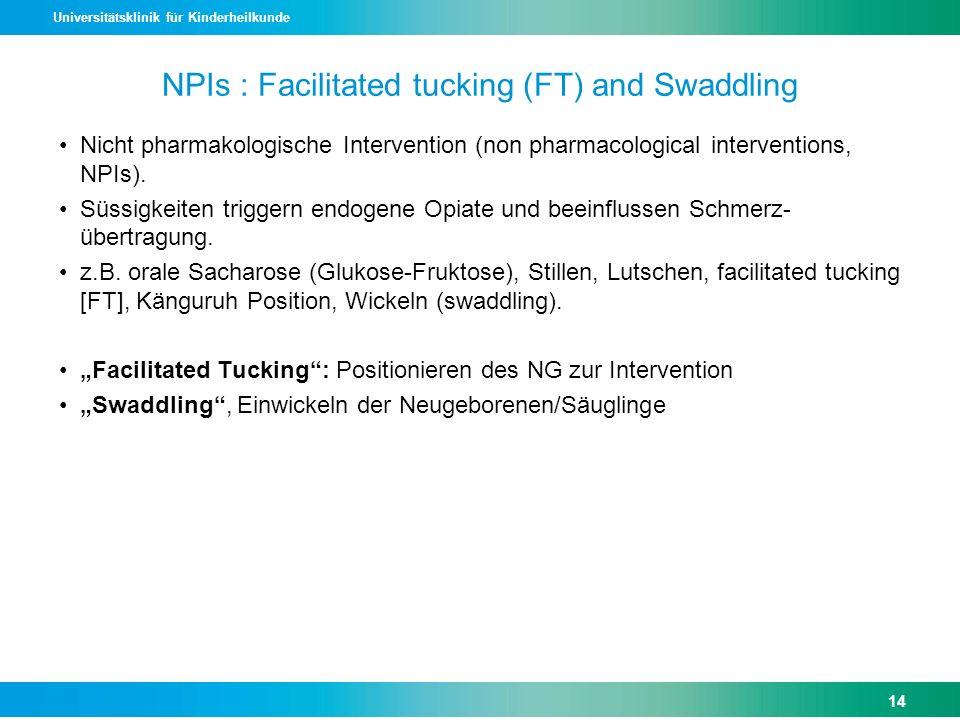 Universitätsklinik für Kinderheilkunde NPIs : Facilitated tucking (FT) and Swaddling Nicht pharmakologische Intervention (non pharmacological interven