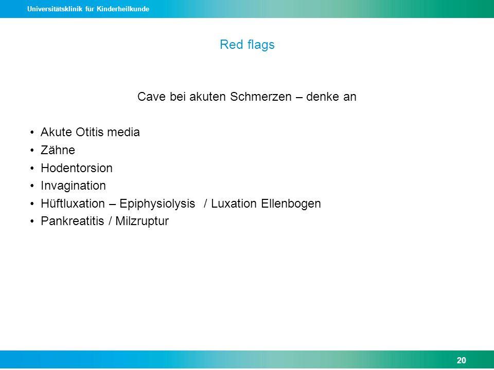 Universitätsklinik für Kinderheilkunde Red flags Cave bei akuten Schmerzen – denke an Akute Otitis media Zähne Hodentorsion Invagination Hüftluxation
