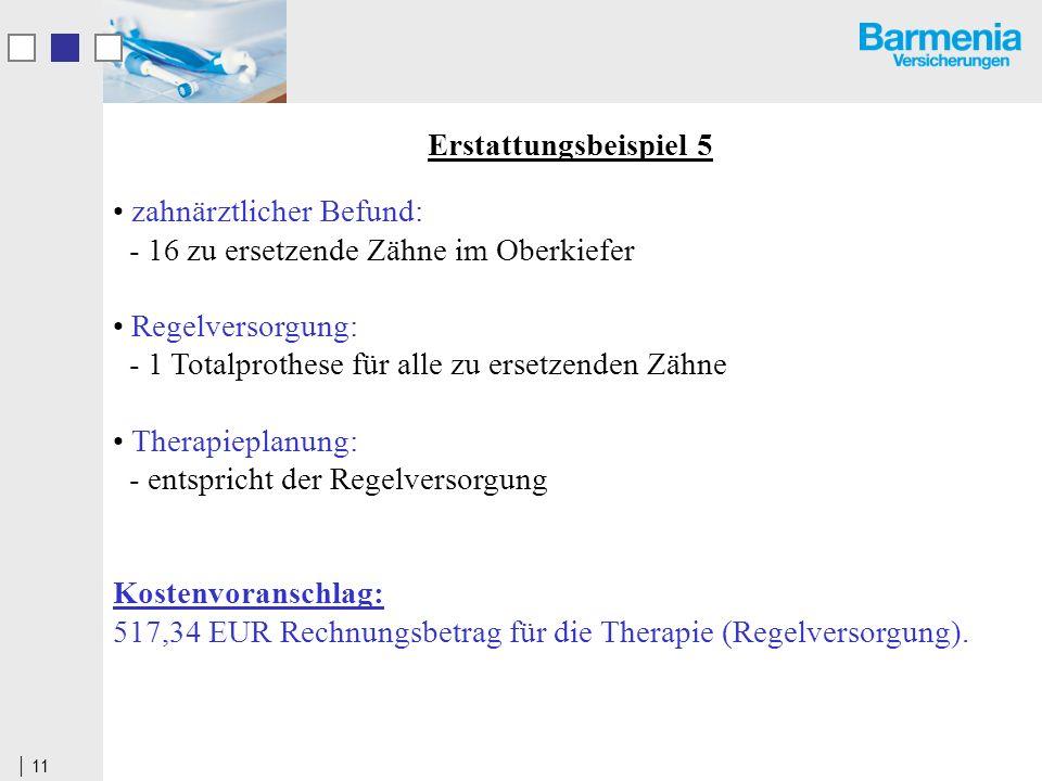 11 Erstattungsbeispiel 5 zahnärztlicher Befund: - 16 zu ersetzende Zähne im Oberkiefer Regelversorgung: - 1 Totalprothese für alle zu ersetzenden Zähne Therapieplanung: - entspricht der Regelversorgung Kostenvoranschlag: 517,34 EUR Rechnungsbetrag für die Therapie (Regelversorgung).