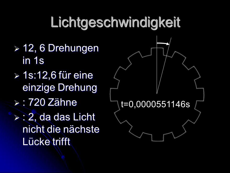 Lichtgeschwindigkeit 12, 6 Drehungen in 1s 12, 6 Drehungen in 1s 1s:12,6 für eine einzige Drehung 1s:12,6 für eine einzige Drehung : 720 Zähne : 720 Zähne : 2, da das Licht nicht die nächste Lücke trifft : 2, da das Licht nicht die nächste Lücke trifft t=0,0000551146s