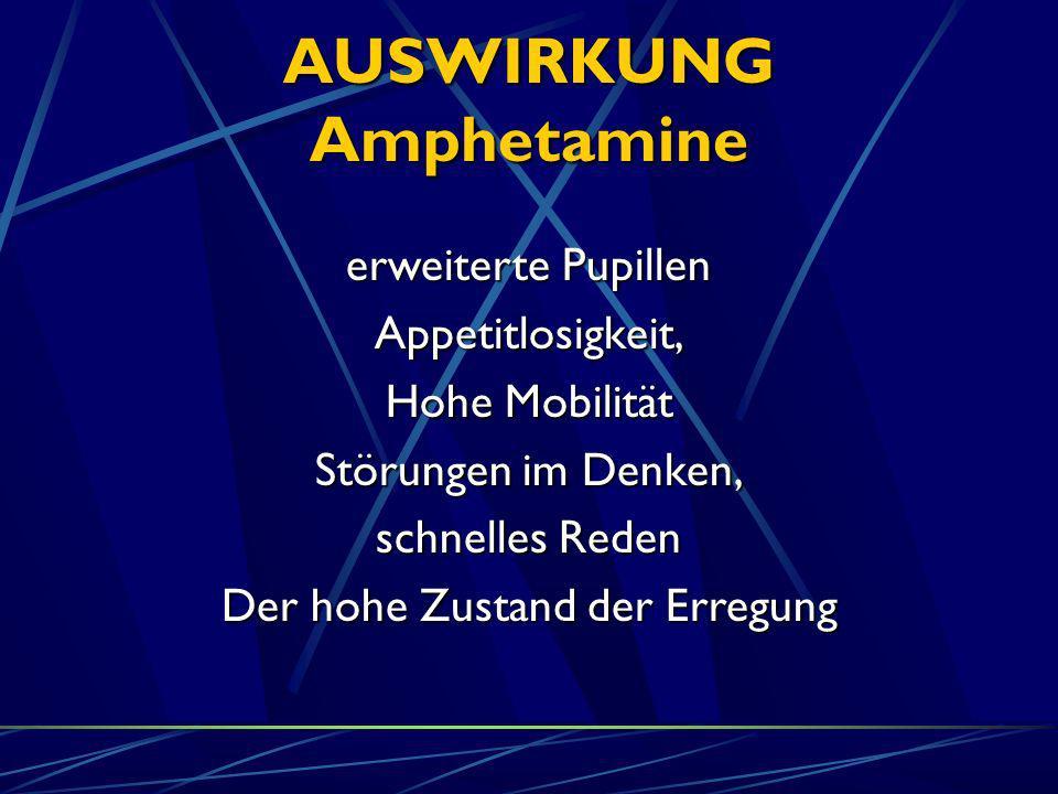 AUSWIRKUNG Amphetamine erweiterte Pupillen Appetitlosigkeit, Hohe Mobilität Störungen im Denken, schnelles Reden Der hohe Zustand der Erregung