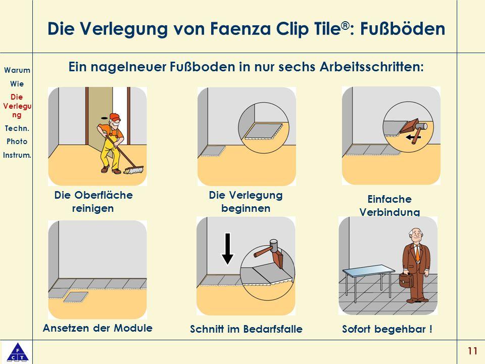 11 Die Verlegung von Faenza Clip Tile ® : Fußböden Warum Wie Die Verlegu ng Techn.