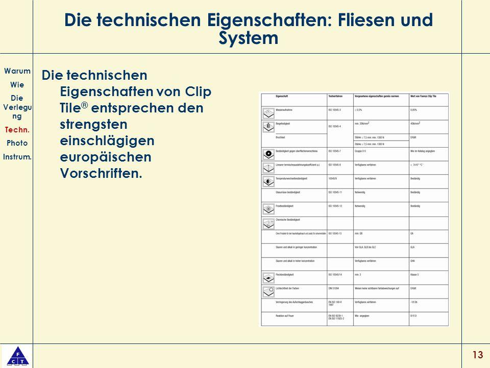 13 Die technischen Eigenschaften: Fliesen und System Die technischen Eigenschaften von Clip Tile ® entsprechen den strengsten einschlägigen europäischen Vorschriften.