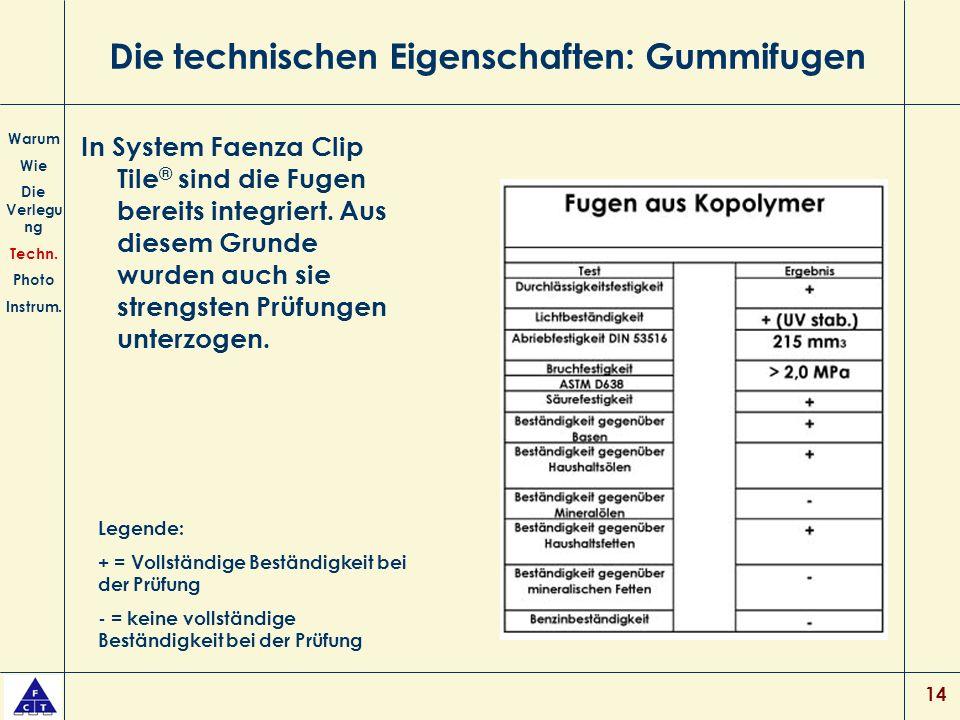 14 Die technischen Eigenschaften: Gummifugen In System Faenza Clip Tile ® sind die Fugen bereits integriert.