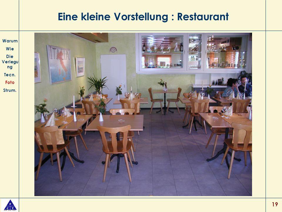 19 Eine kleine Vorstellung : Restaurant Warum Wie Die Verlegu ng Tecn. Foto Strum.
