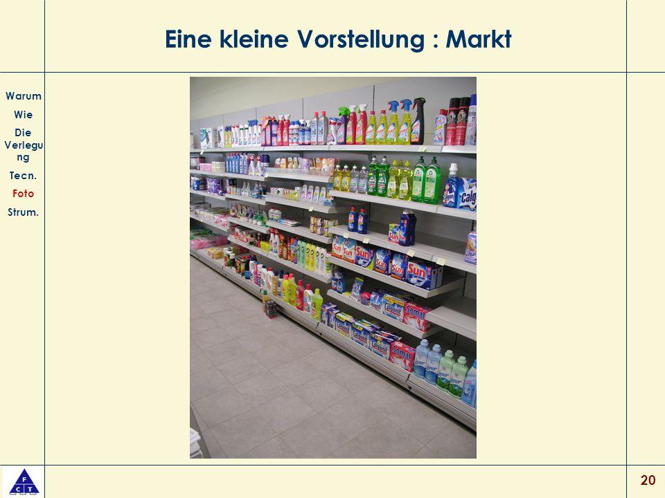 20 Eine kleine Vorstellung : Markt Warum Wie Die Verlegu ng Tecn. Foto Strum.