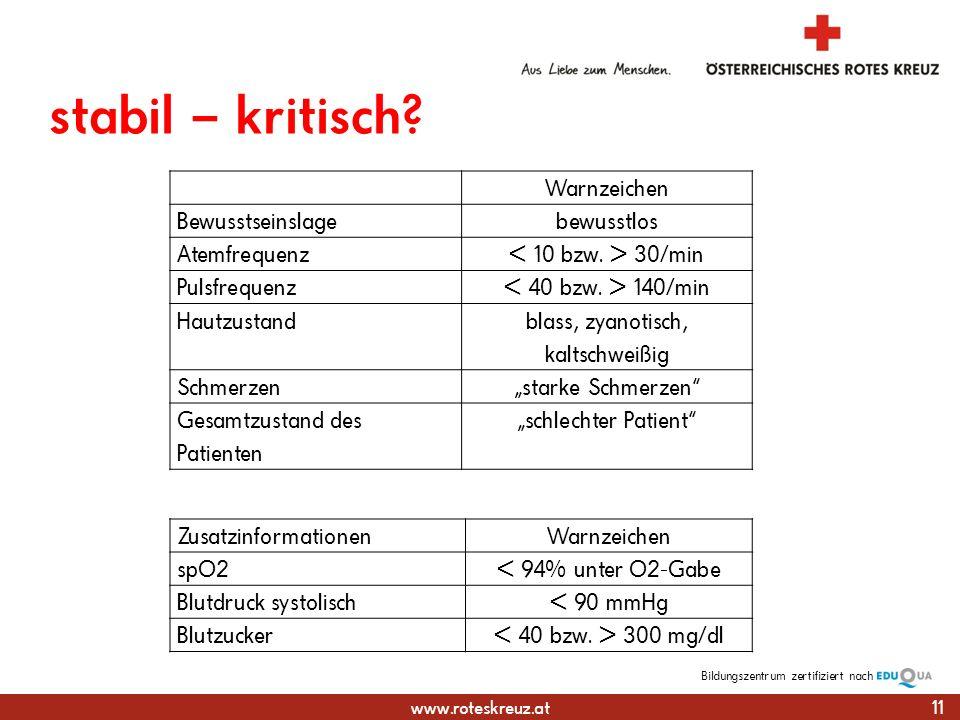 www.roteskreuz.at Bildungszentrumzertifiziert nach stabil – kritisch.