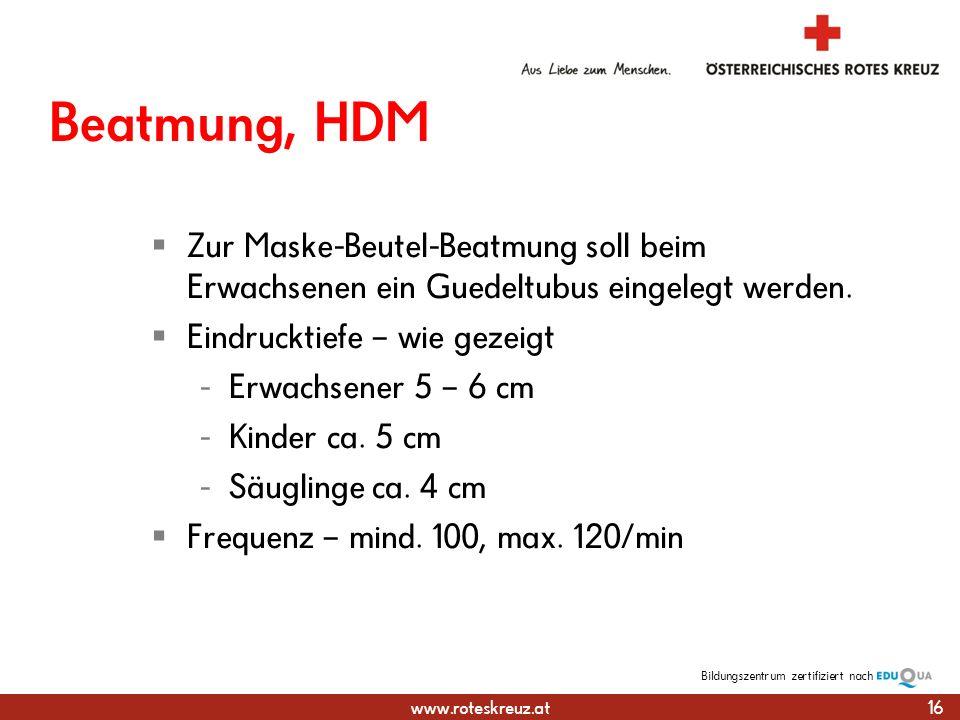 www.roteskreuz.at Bildungszentrumzertifiziert nach Beatmung, HDM Zur Maske-Beutel-Beatmung soll beim Erwachsenen ein Guedeltubus eingelegt werden.