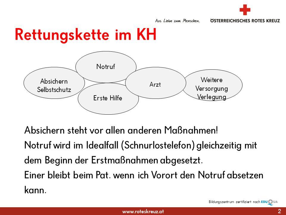 www.roteskreuz.at Bildungszentrumzertifiziert nach Absichern Selbstschutz Weitere Versorgung Verlegung Rettungskette im KH 2 Notruf Erste Hilfe Arzt Absichern steht vor allen anderen Maßnahmen.