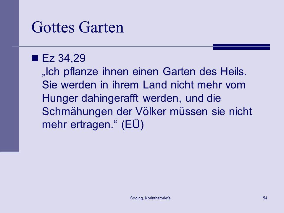 Söding, Korintherbriefe54 Gottes Garten Ez 34,29 Ich pflanze ihnen einen Garten des Heils. Sie werden in ihrem Land nicht mehr vom Hunger dahingerafft