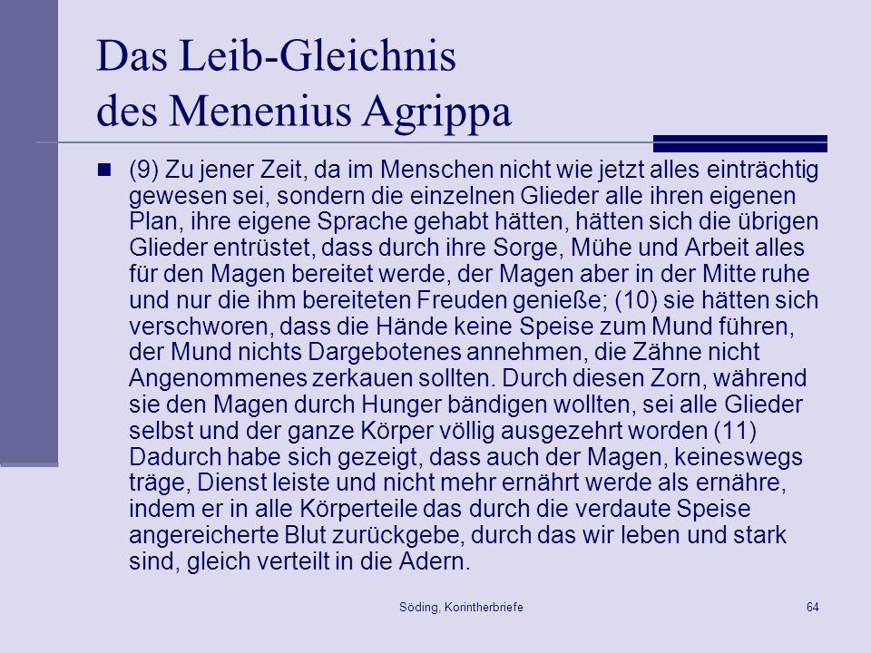 Söding, Korintherbriefe64 Das Leib-Gleichnis des Menenius Agrippa (9) Zu jener Zeit, da im Menschen nicht wie jetzt alles einträchtig gewesen sei, son