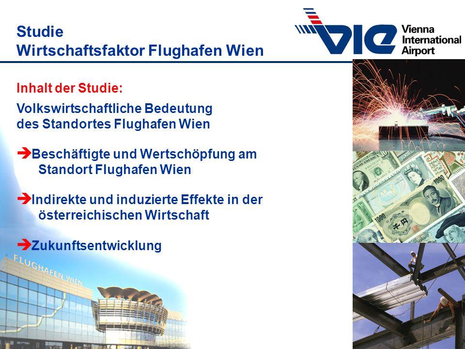 Studie Wirtschaftsfaktor Flughafen Wien Inhalt der Studie: Volkswirtschaftliche Bedeutung des Standortes Flughafen Wien è Beschäftigte und Wertschöpfu