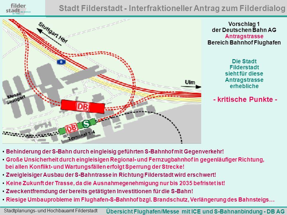 Stadt Filderstadt - Interfraktioneller Antrag zum Filderdialog Stadtplanungs- und Hochbauamt Filderstadt Vorschlag 1 der Deutschen Bahn AG Antragstras