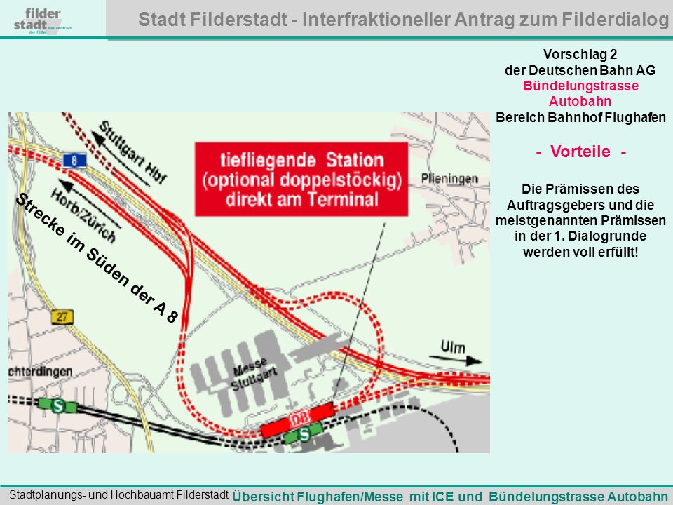 Stadt Filderstadt - Interfraktioneller Antrag zum Filderdialog Stadtplanungs- und Hochbauamt Filderstadt Eckpunkte der Bündelungstrasse Autobahn: Die Trasse fädelt erst weit nach der Rohrer Kurve aus der S-Bahntrasse aus.