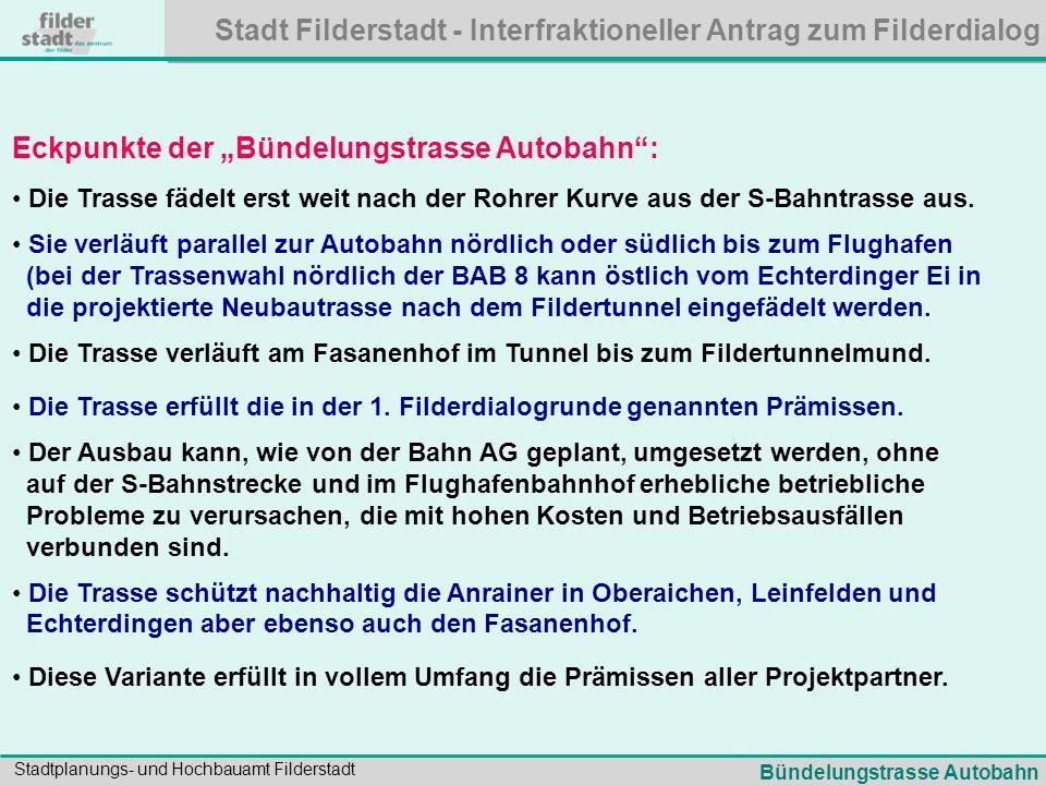 Stadt Filderstadt - Interfraktioneller Antrag zum Filderdialog Stadtplanungs- und Hochbauamt Filderstadt Eckpunkte der Bündelungstrasse Autobahn: Die