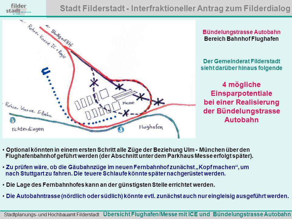 Stadt Filderstadt - Interfraktioneller Antrag zum Filderdialog Stadtplanungs- und Hochbauamt Filderstadt Bewertung Bündelungstrasse Autobahn: Die Trasse erspart sehr aufwändige Investitionen beim Umbau am Flughafen-S-Bahnhof.