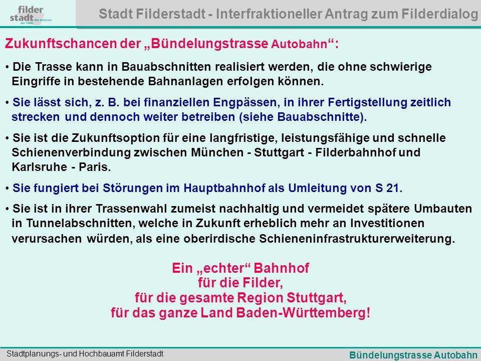 Stadt Filderstadt - Interfraktioneller Antrag zum Filderdialog Stadtplanungs- und Hochbauamt Filderstadt Zukunftschancen der Bündelungstrasse Autobahn