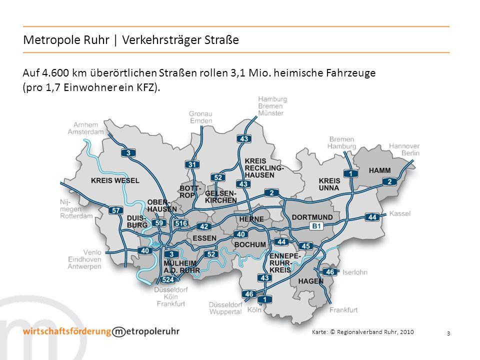 4 Metropole Ruhr | Verkehrsträger Schiene Karte: © Regionalverband Ruhr, 2010