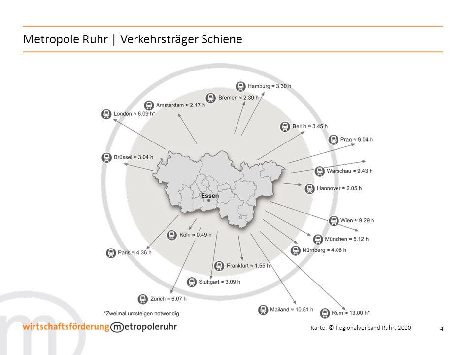 5 Metropole Ruhr | Verkehrsträger Schiene Das Eisenbahnnetz der Metropole Ruhr besteht aus: 1.600 km Gleisstrecke über 70 Bahnhöfe der Deutschen Bahn AG, davon 11 mit ICE- / IC- / EC-Halt 12 ICE / IC-Linien 15 Regionalexpress-Linien 22 Regionalbahn- und 11 S-Bahn-Linien
