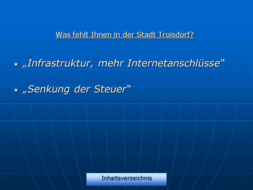 Inhaltsverzeichnis Was fehlt Ihnen in der Stadt Troisdorf? Infrastruktur, mehr Internetanschlüsse Infrastruktur, mehr Internetanschlüsse Senkung der S