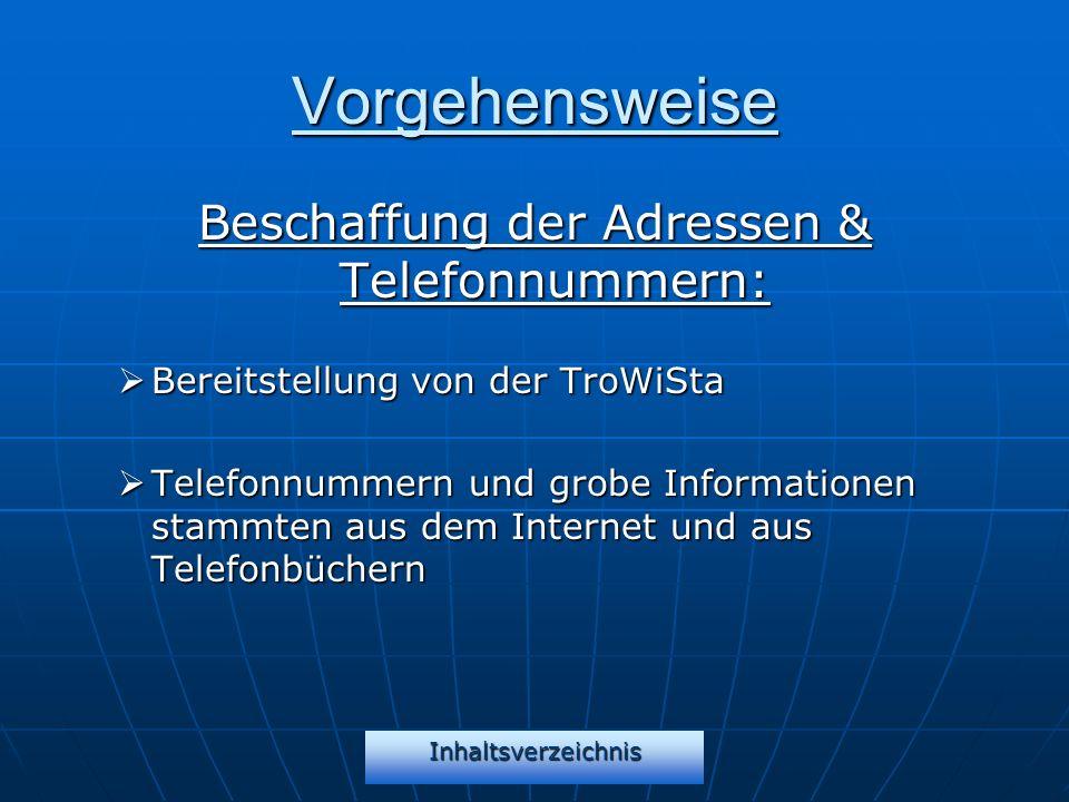 Vorgehensweise Beschaffung der Adressen & Telefonnummern: Bereitstellung von der TroWiSta Bereitstellung von der TroWiSta Telefonnummern und grobe Inf