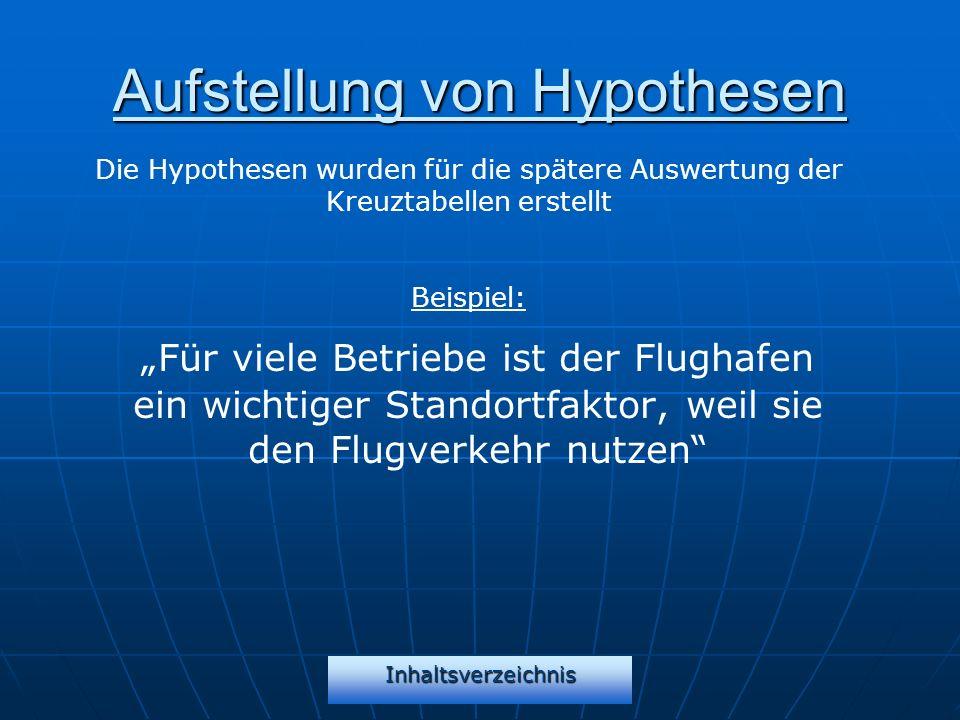 Inhaltsverzeichnis Aufstellung von Hypothesen Für viele Betriebe ist der Flughafen ein wichtiger Standortfaktor, weil sie den Flugverkehr nutzen Die H