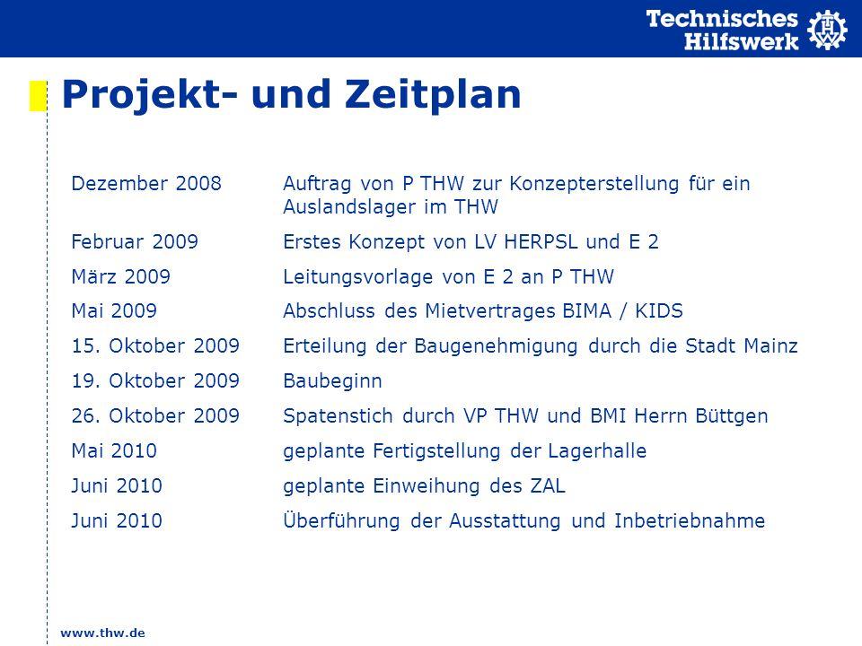www.thw.de Projekt- und Zeitplan Dezember 2008Auftrag von P THW zur Konzepterstellung für ein Auslandslager im THW Februar 2009Erstes Konzept von LV HERPSL und E 2 März 2009Leitungsvorlage von E 2 an P THW Mai 2009Abschluss des Mietvertrages BIMA / KIDS 15.