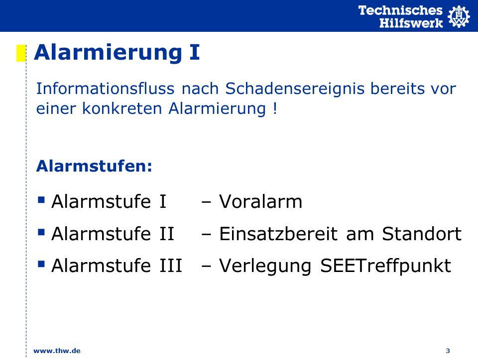 www.thw.de 3 Alarmierung I Alarmstufe I – Voralarm Alarmstufe II – Einsatzbereit am Standort Alarmstufe III – Verlegung SEETreffpunkt Informationsfluss nach Schadensereignis bereits vor einer konkreten Alarmierung .