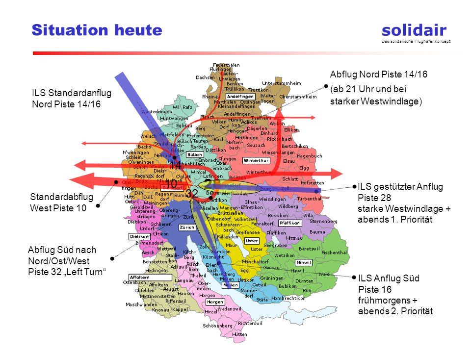 solidair Das solidarische Flughafenkonzept Situation heute ILS gestützter Anflug Piste 28 starke Westwindlage + abends 1. Priorität ILS Standardanflug