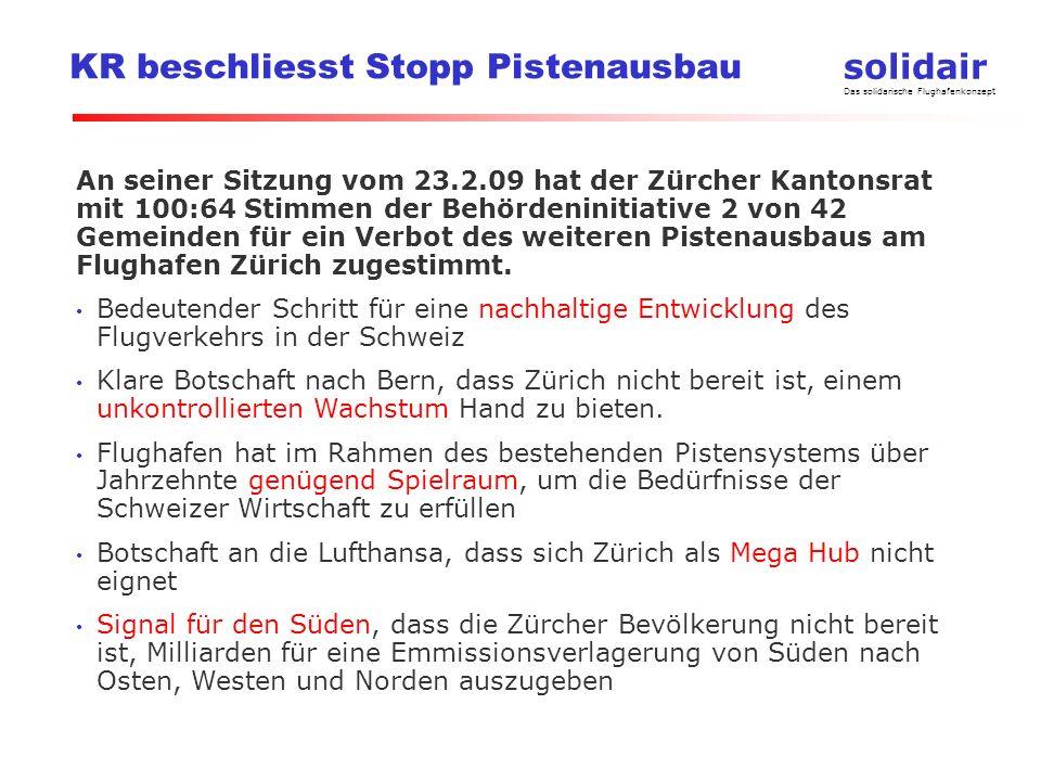 solidair Das solidarische Flughafenkonzept KR beschliesst Stopp Pistenausbau An seiner Sitzung vom 23.2.09 hat der Zürcher Kantonsrat mit 100:64 Stimm