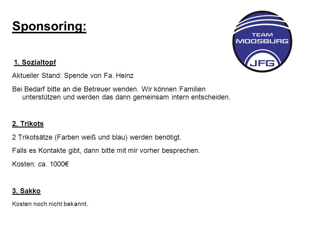 Sponsoring: 1.Sozialtopf Aktueller Stand: Spende von Fa.
