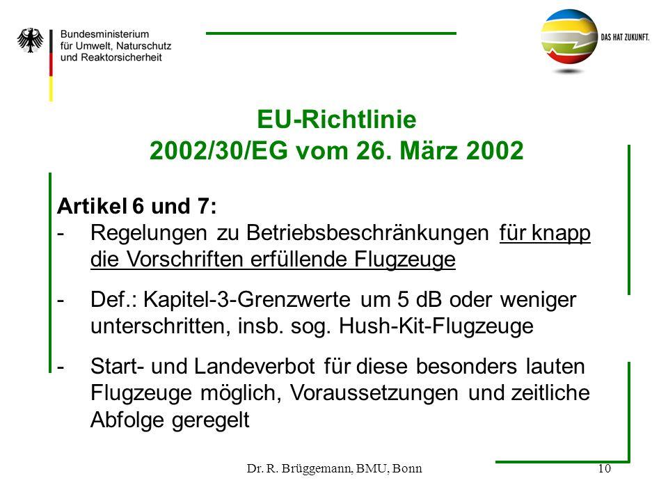 Dr. R. Brüggemann, BMU, Bonn10 EU-Richtlinie 2002/30/EG vom 26. März 2002 Artikel 6 und 7: -Regelungen zu Betriebsbeschränkungen für knapp die Vorschr