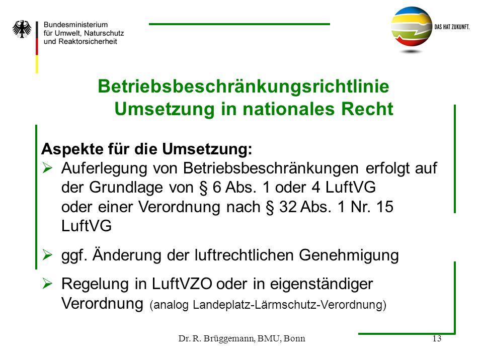 Dr. R. Brüggemann, BMU, Bonn13 Betriebsbeschränkungsrichtlinie Umsetzung in nationales Recht Aspekte für die Umsetzung: Auferlegung von Betriebsbeschr