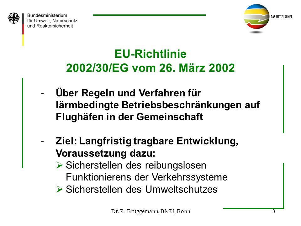Dr. R. Brüggemann, BMU, Bonn3 EU-Richtlinie 2002/30/EG vom 26. März 2002 -Über Regeln und Verfahren für lärmbedingte Betriebsbeschränkungen auf Flughä