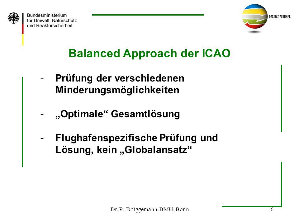 Dr. R. Brüggemann, BMU, Bonn6 Balanced Approach der ICAO -Prüfung der verschiedenen Minderungsmöglichkeiten -Optimale Gesamtlösung -Flughafenspezifisc