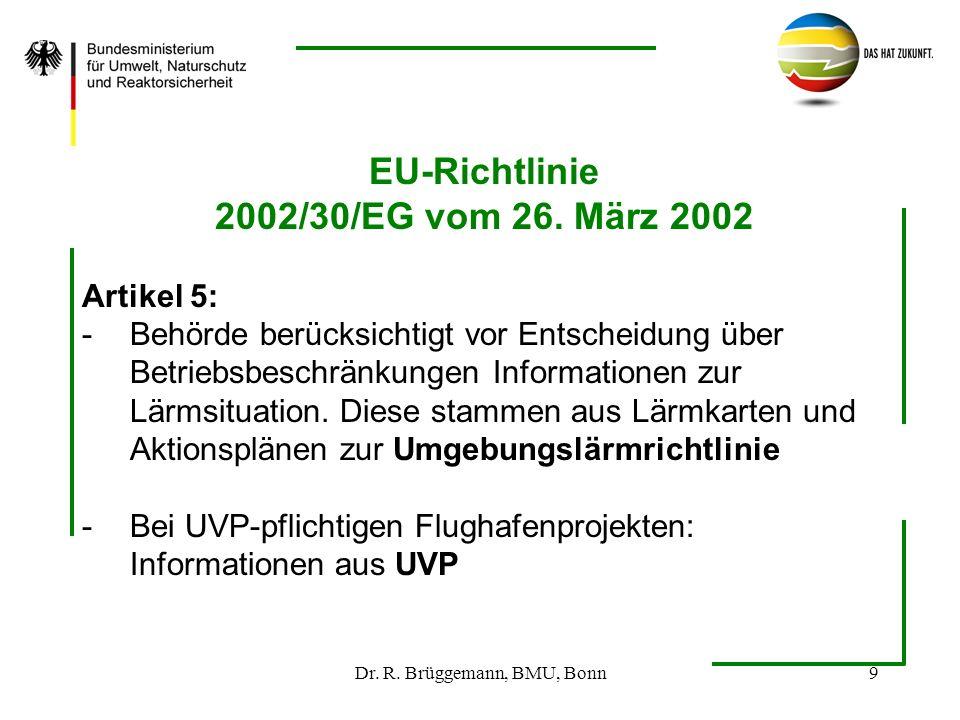 Dr. R. Brüggemann, BMU, Bonn9 EU-Richtlinie 2002/30/EG vom 26. März 2002 Artikel 5: -Behörde berücksichtigt vor Entscheidung über Betriebsbeschränkung