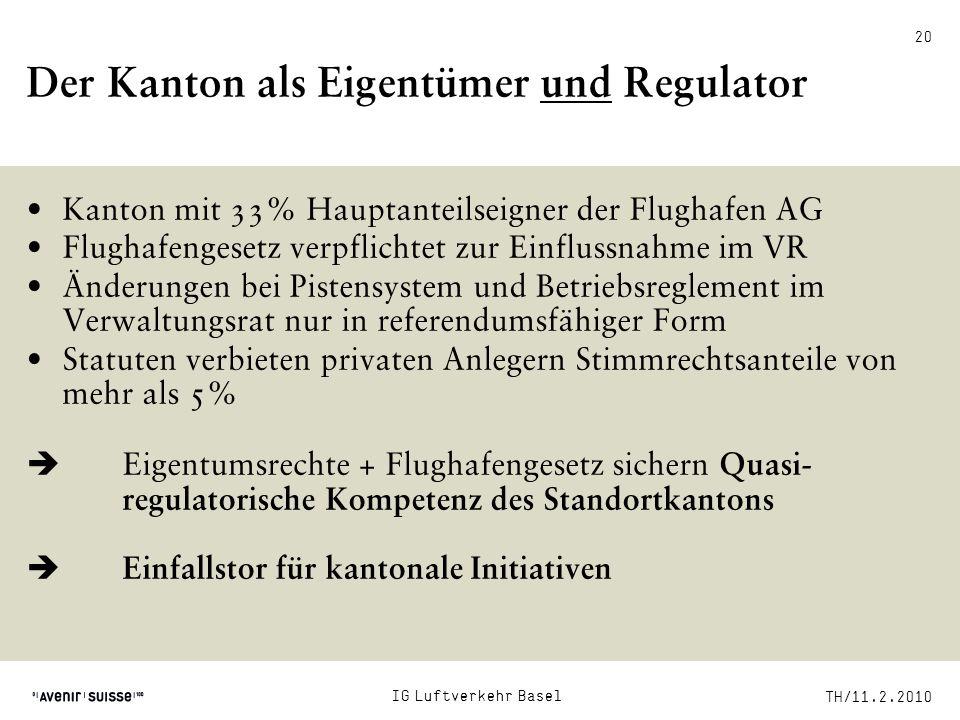 TH/11.2.2010 20 Der Kanton als Eigentümer und Regulator Kanton mit 33% Hauptanteilseigner der Flughafen AG Flughafengesetz verpflichtet zur Einflussna