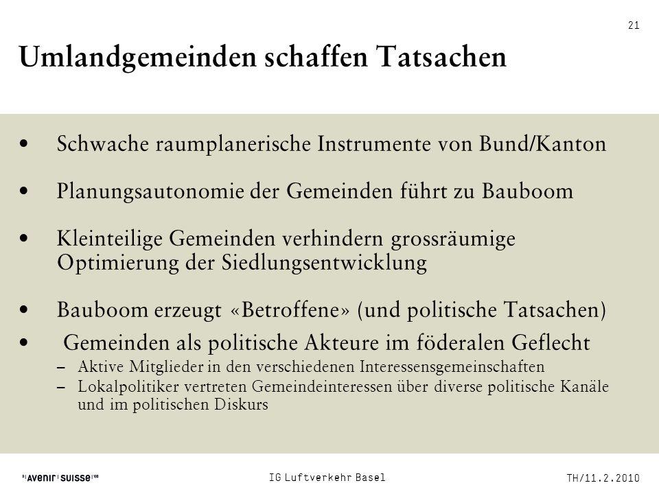 TH/11.2.2010 21 Umlandgemeinden schaffen Tatsachen Schwache raumplanerische Instrumente von Bund/Kanton Planungsautonomie der Gemeinden führt zu Baubo