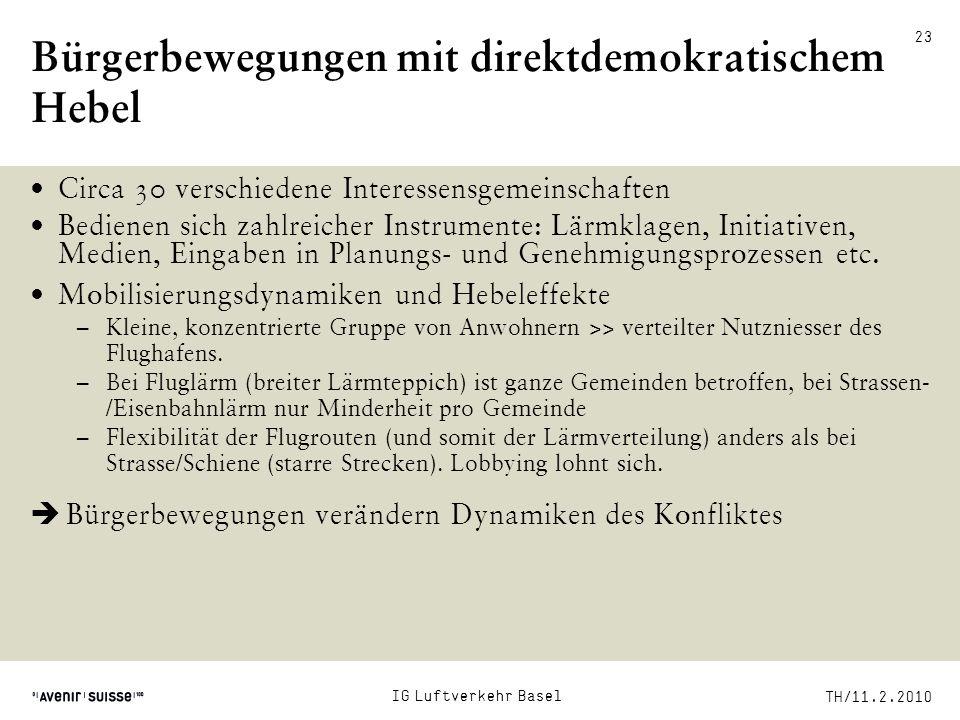 TH/11.2.2010 23 Bürgerbewegungen mit direktdemokratischem Hebel Circa 30 verschiedene Interessensgemeinschaften Bedienen sich zahlreicher Instrumente: