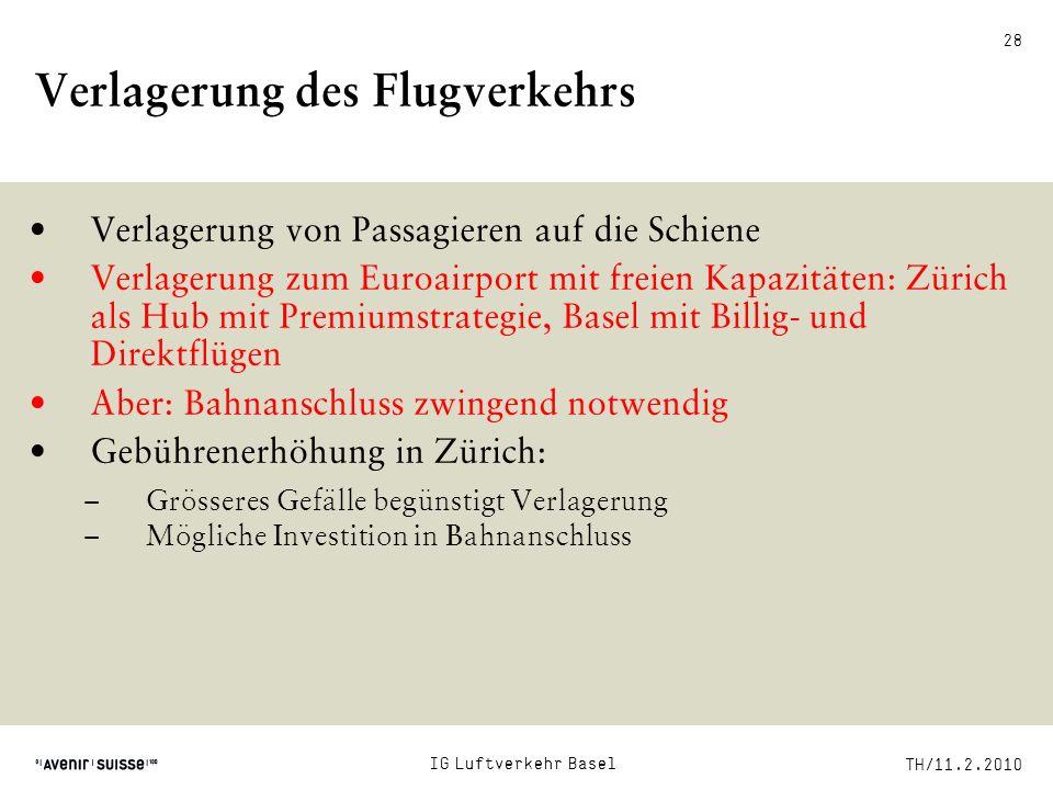 TH/11.2.2010 28 Verlagerung des Flugverkehrs Verlagerung von Passagieren auf die Schiene Verlagerung zum Euroairport mit freien Kapazitäten: Zürich al