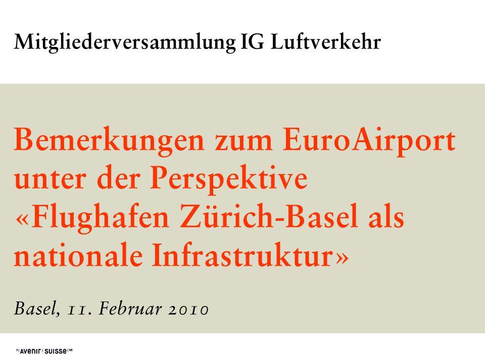Mitgliederversammlung IG Luftverkehr Bemerkungen zum EuroAirport unter der Perspektive «Flughafen Zürich-Basel als nationale Infrastruktur» Basel, 11.
