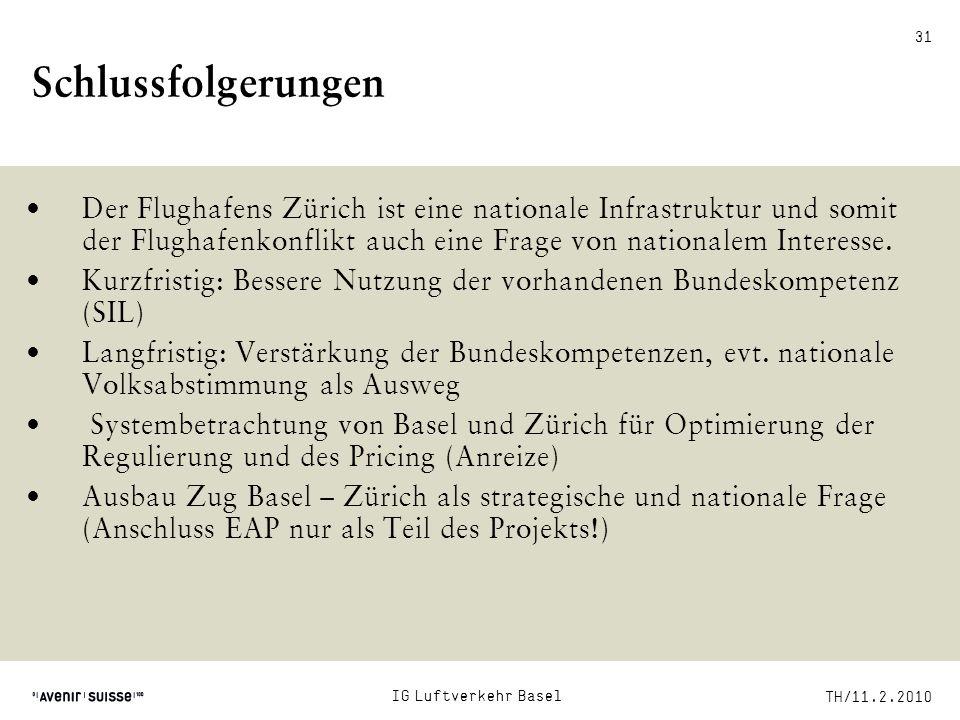 TH/11.2.2010 31 Schlussfolgerungen Der Flughafens Zürich ist eine nationale Infrastruktur und somit der Flughafenkonflikt auch eine Frage von national