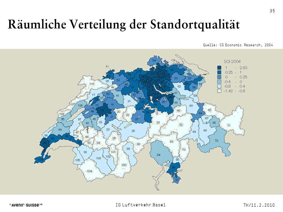 TH/11.2.2010 IG Luftverkehr Basel Räumliche Verteilung der Standortqualität Quelle: CS Economic Research, 2004 35