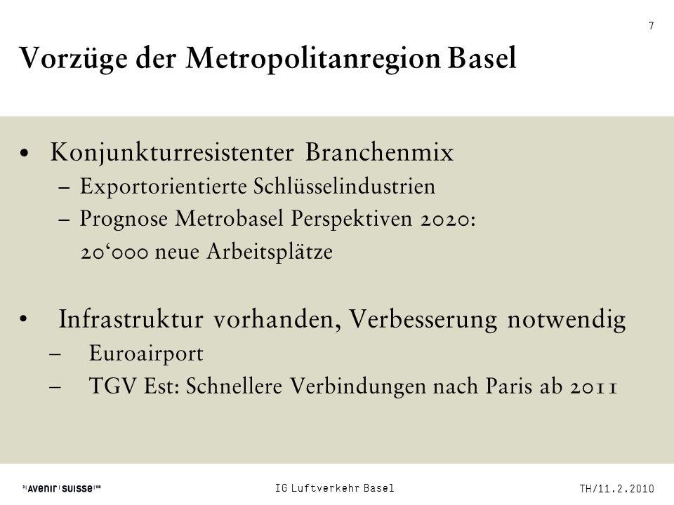 TH/11.2.2010 28 Verlagerung des Flugverkehrs Verlagerung von Passagieren auf die Schiene Verlagerung zum Euroairport mit freien Kapazitäten: Zürich als Hub mit Premiumstrategie, Basel mit Billig- und Direktflügen Aber: Bahnanschluss zwingend notwendig Gebührenerhöhung in Zürich: –Grösseres Gefälle begünstigt Verlagerung –Mögliche Investition in Bahnanschluss IG Luftverkehr Basel