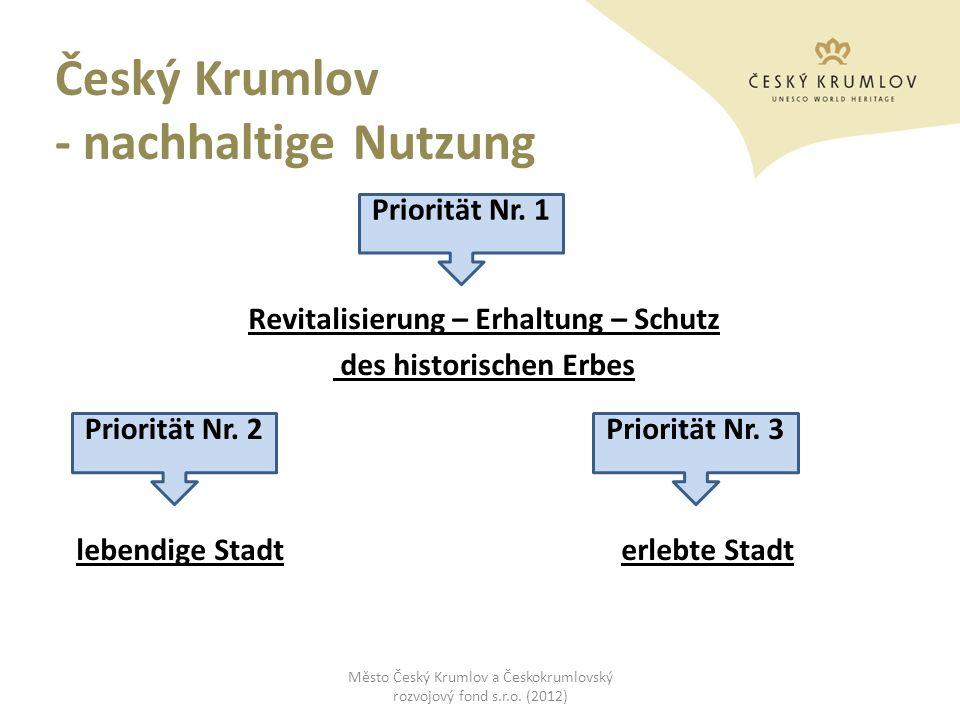 Český Krumlov - nachhaltige Nutzung Revitalisierung – Erhaltung – Schutz des historischen Erbes lebendige Stadt erlebte Stadt Město Český Krumlov a Če